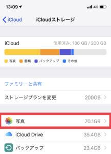 iCloudフォトライブラリの写真の容量